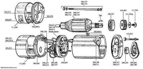 An exploded view of a Lucas E3 dynamo