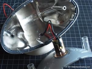 The original wiring connections inside a Bonneville rear light